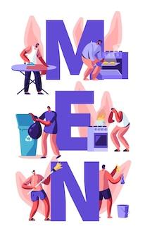 Men at household activities concept.