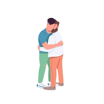 Men hugging flat color faceless characters. gay couple in romantic relationship. man embrace friend. family relationship isolated cartoon illustration for web graphic design and animation