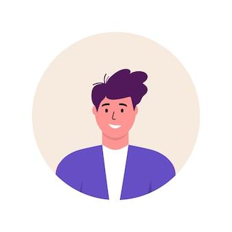 남자 아이콘 유행 아바타 캐릭터입니다. 명랑, 행복한 사람들이 평면 벡터 일러스트 레이 션. 라운드 프레임입니다. 남성 초상화, 그룹, 팀. 흰색 배경에 고립 된 사랑스러운 남자