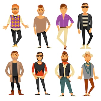 Установить мужчин в разных стилях модной повседневной одежды вектор плоские изолированные иконки