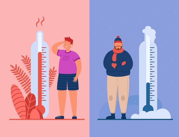 Мужчины в жару и холодную погоду плоской иллюстрации