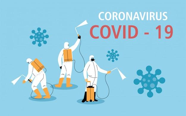 Мужчины в защитном костюме или одежде, дезинфекция коронавирусом или ковидом 19, профилактические меры