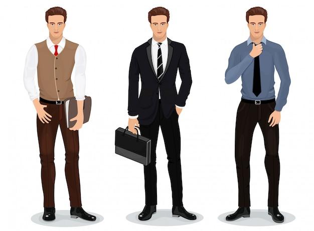 세련된 옷을 입은 남자. 실업가의 집합입니다. 자세한 남성 캐릭터. 삽화