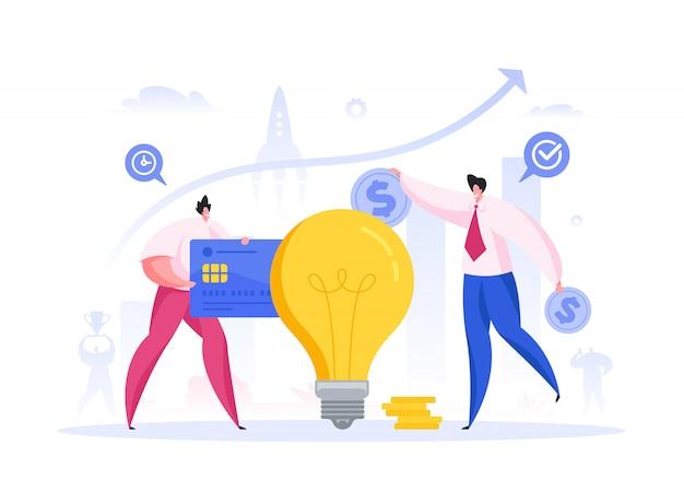 Men investing money into idea. flat illustration