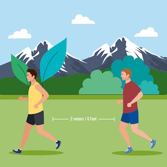 Men jogging and keeping social distance on coronavirus covid 19, daily exercise outside