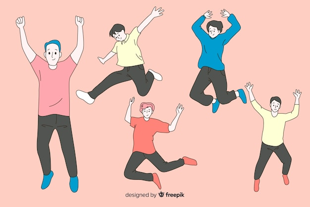 Men jumping in korean drawing style