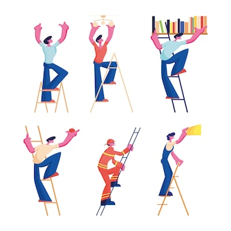 Men on ladders set. male characters of different professions and occupation climbing upstairs. cartoon flat illustration