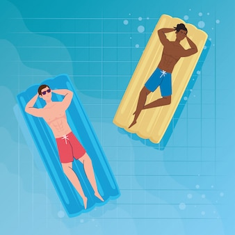 Men in lying down on inflatable float in shorts, on the pool, summer vacation season
