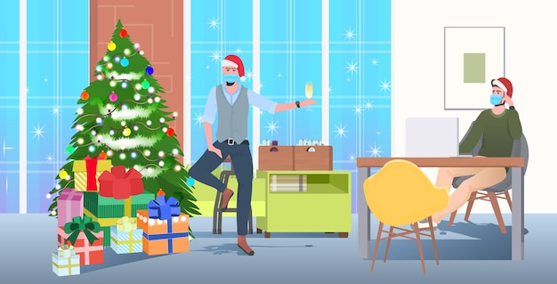 Men in masks drinking champagne colleagues in santa hats celebrating new year corporate party modern office interior horizontal full length vector illustration