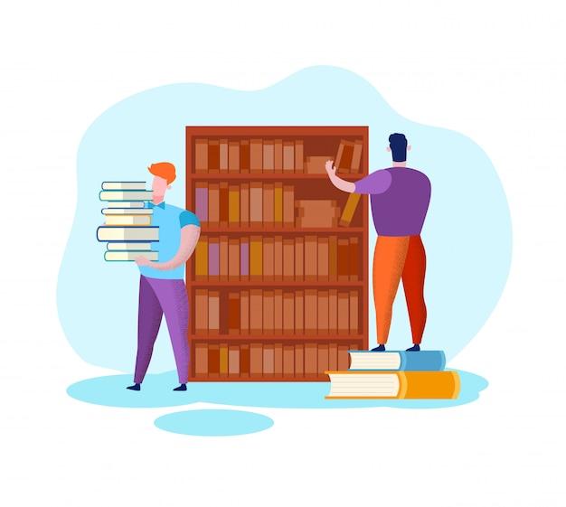 Men near bookshelf. education and science. library