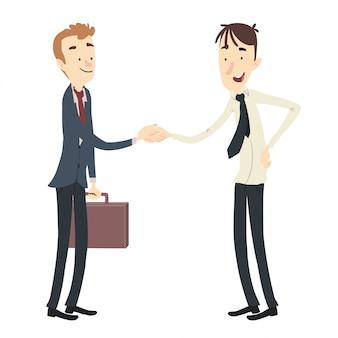 Men negotiating shaking hands