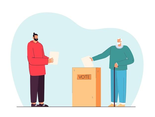 イラストを投票するすべての年齢の男性。特別な箱に掲示板を投げる老人