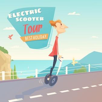 電動スクーターのプロモーションバナーの男性。現代の環境輸送技術。