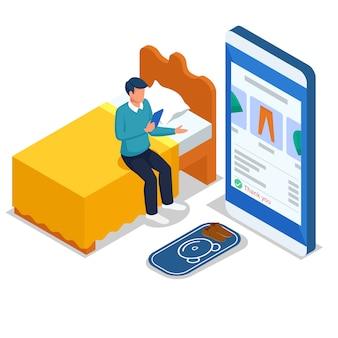 Men do online shopping in bed via mobile phones.