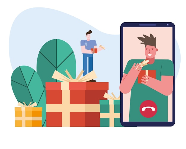 Men opening gifts in smartphone characters scene vector illustration design