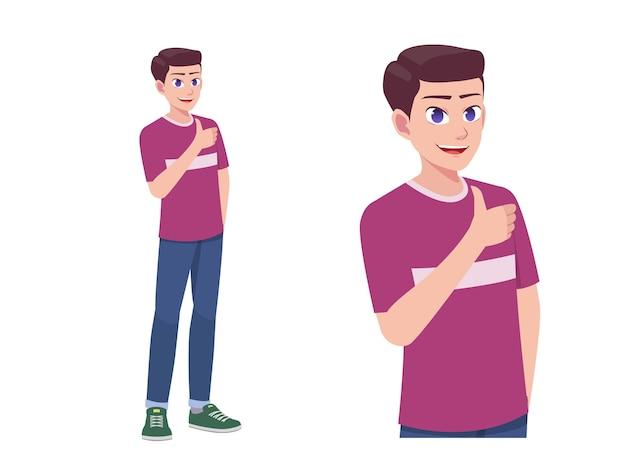 男性または男の子のように親指を立てる表現のポーズ漫画イラストに同意する