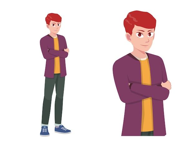 男性または少年立っている幸せな表現ポーズ漫画イラスト
