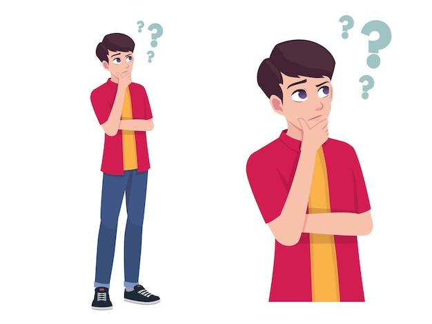 男性または少年の思考と不思議な表現のポーズ漫画イラスト
