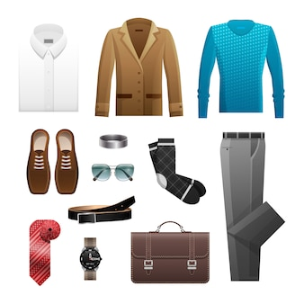 Men outfits set for everyday life on white