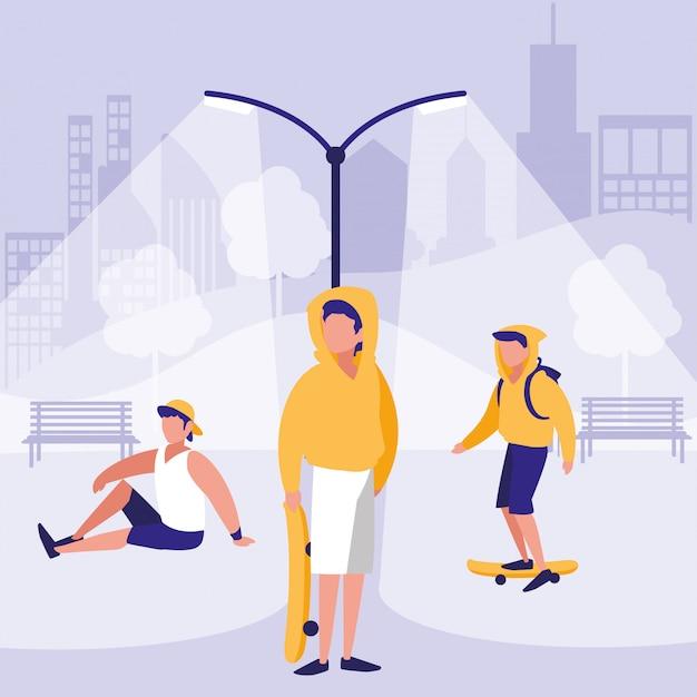 Men in park vector design