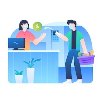 Мужчины оплачивают продукты с помощью бесконтактной системы