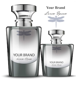 男性の香水ボトルセット。現実的な製品パッケージデザイン