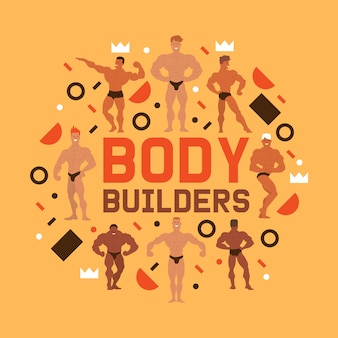 Men physics characters composition. muscle bodybuilder men flexing his muscles. fitness models, posing, bodybuilding. sportsmen in gym. strong people.