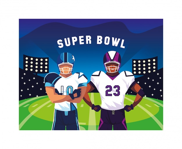 Men players american football with