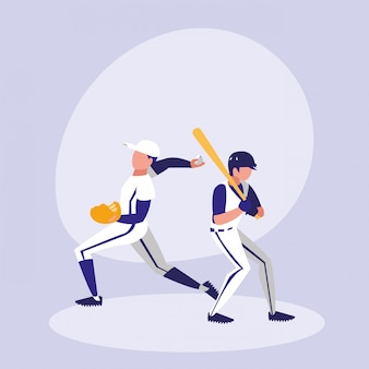 Men playing baseball isolated icon