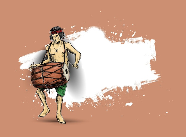 インドのお祭りハッピーnavratriベクトル、手描きスケッチベクトルイラストでドールターシャを再生する男性。