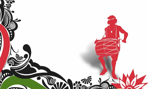 Men playing dhol tasha in indian festival happy navratri  abstract vector background.