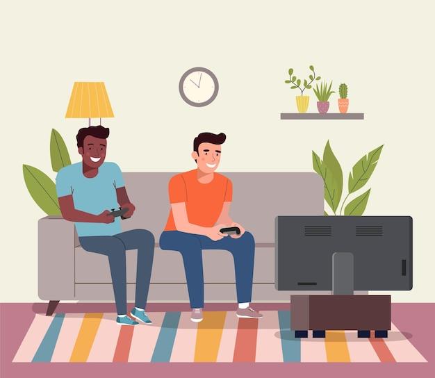 Мужчины играют в видеоигры на диване. векторная иллюстрация плоский стиль