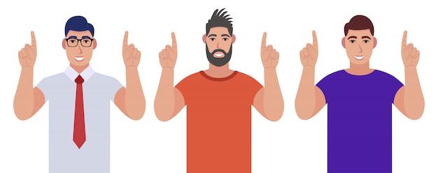 立って笑顔で指を指す男性。ポインティングコピースペース。キャラクターセット。