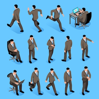 Men poses isometric icons set with male characters in business suits going to job and sitting at work place isolated