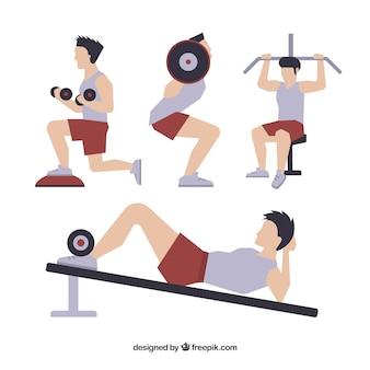 Men practicing exercise