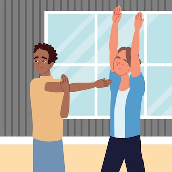 Мужчины, практикующие растяжку, активный перерыв