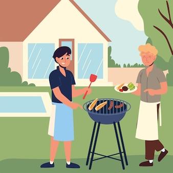 Мужчины готовят еду для пикника