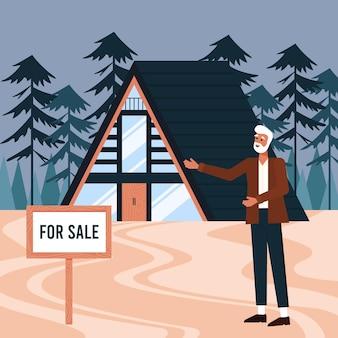 Uomini che presentano casa in vendita