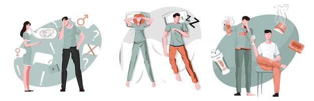 Men problem compositions set with flat female and male human characters with stinky shoes and snoring