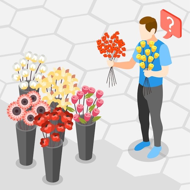 Men problems choosing right flowers in isometric view