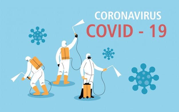 Men in protective suit or clothing, disinfection by coronavirus or covid 19, preventive measures