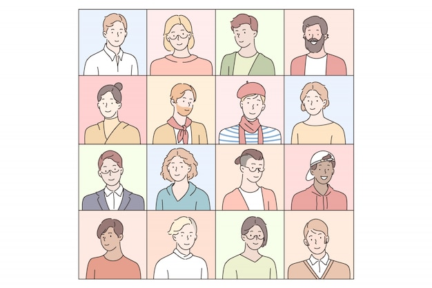 Men pupils emotions set concept
