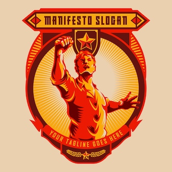 Men raised fist demonstration badge