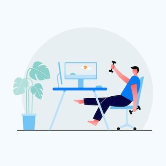 仕事で休んでいる男性、長いハードワークの後の短い休憩