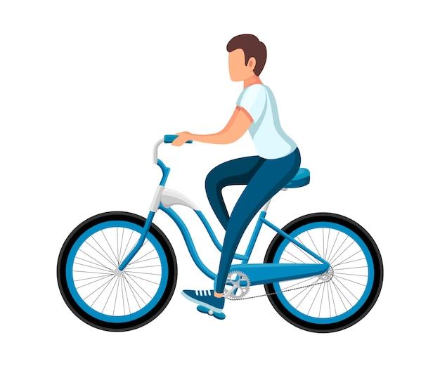自転車に乗る男性。自転車とスポーツウェアの少年と。漫画のキャラクター 。白い背景の上の図