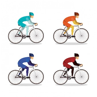 Men riding bikes set design, vehicle bicycle cycle lifestyle sport and transportation theme