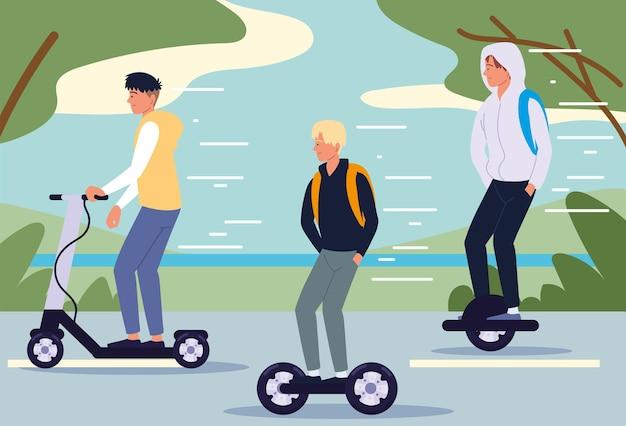 Мужчины, езда на электротранспорте