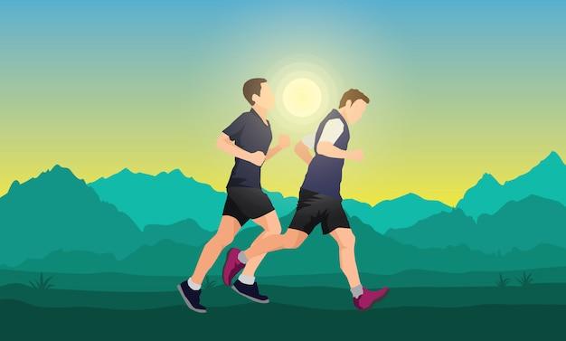 Мужчины бегут в сельской местности