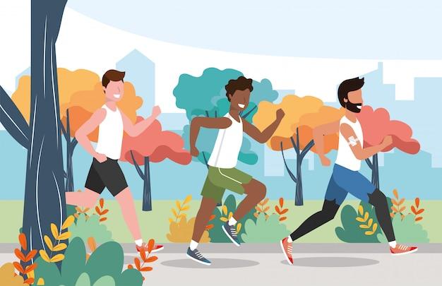 Men running practice exercise activity