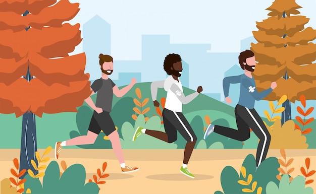 Men running training exercise activity